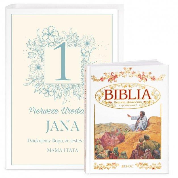 Biblia Dla Dzieci Z Drewnianym Etui Nadruk Pierwsze Urodzinki