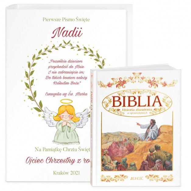 Biblia Dla Dzieci Z Drewnianym Etui Nadruk Aniołek Na Chrzest