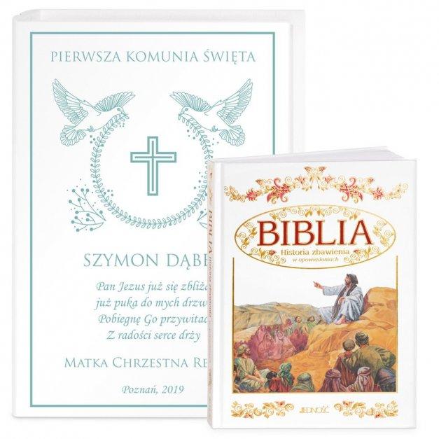 Biblia Dla Dzieci Z Drewnianym Etui Nadruk Wieniec Komunia Święta