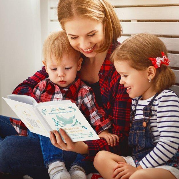Biblia Dla Dzieci Z Twoim Nadrukiem I Drewnianym Etui Gołąbek Chrzciny