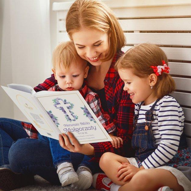 Biblia Dla Dzieci A4 Nadruk Kwiecisty Krzyż