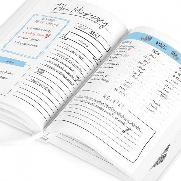 Planner kalendarz książkowy z nadrukiem dla podróżnika miłośnika gór