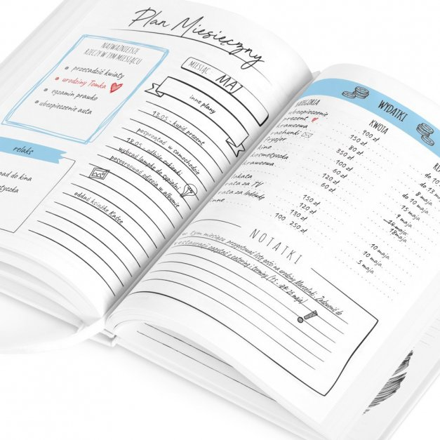 Planner kalendarz książkowy z nadrukiem dla niej dziewczyny żony