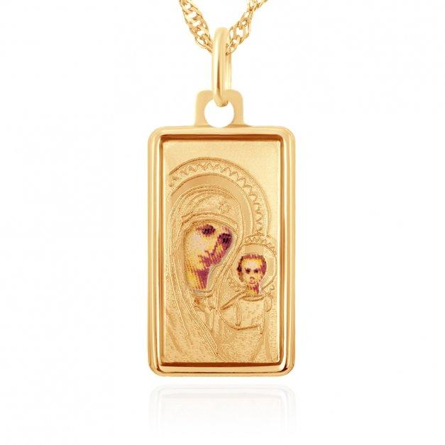 Złoty Komplet 585 Łańcuszek Matka Boska GRAWER ZZ33
