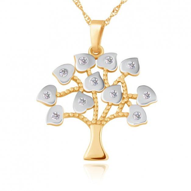 Złoty Komplet 333 Łańcuszek z Zawieszką Drzewo Grawer