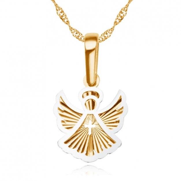 Złoty Medalik 585 Aniołek z Łańcuszkiem Grawer