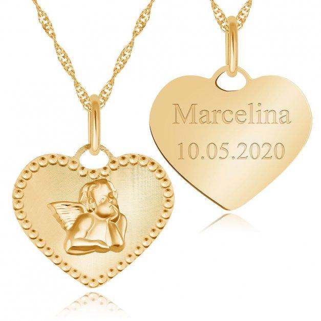 Złoty Medalik 333 Aniołek W Sercu z Łańcuszkiem Grawer
