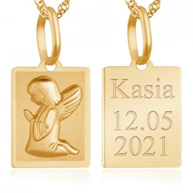 Złoty Medalik 333 Klęczący Aniołek z Łańcuszkiem Grawer