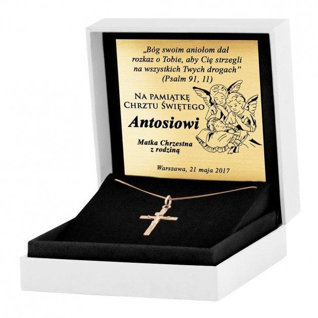 Złoty Krzyżyk 333 La Luce Prosty z Pasyjką Łańcuszek Grawer