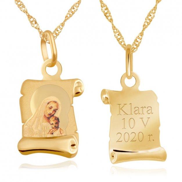Złoty Medalik 333 Matka Boska na Papirusie Kolor Łańcuszek Grawer