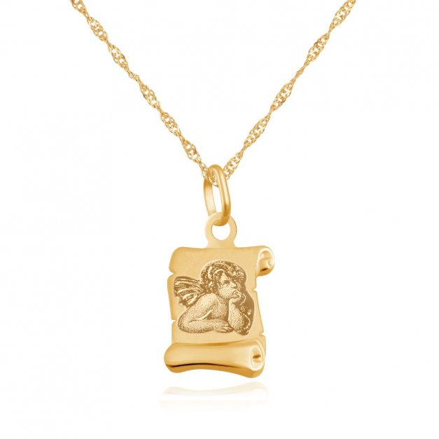 Złoty Medalik 333 Aniołek na Papirusie Łańcuszek Grawer