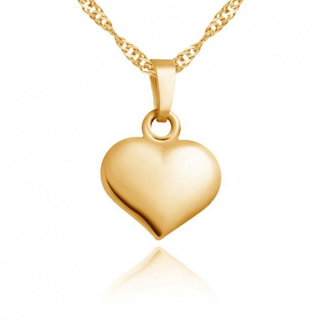 Złoty Komplet 333 Łańcuszek z Zawieszką Serce Grawer