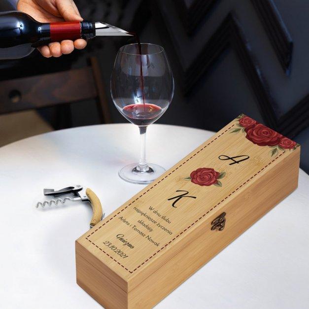 Personalizowany Zestaw Akcesoriów i Skrzynka Do Wina Róże