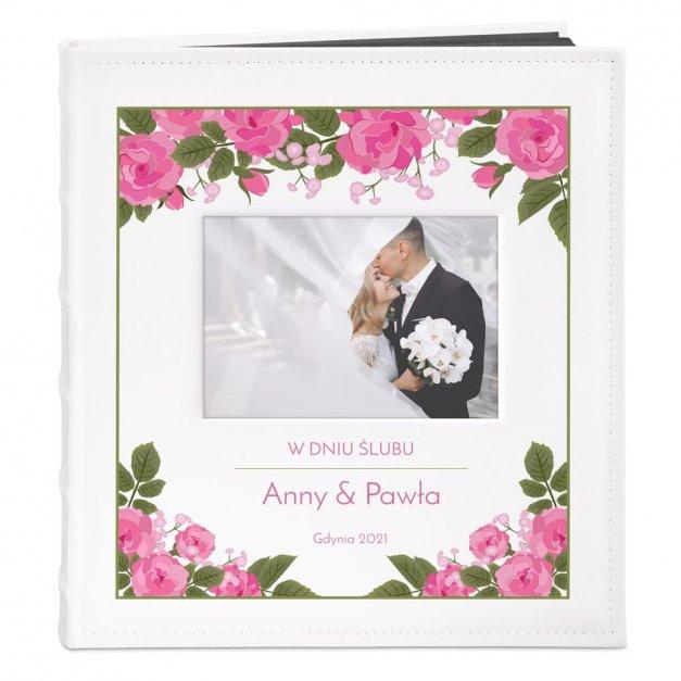Album z Okienkiem Prezent Ślubny Nadruk Róże