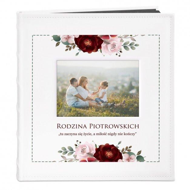 Album z Okienkiem Prezent Rodzinny Nadruk Kwiaty