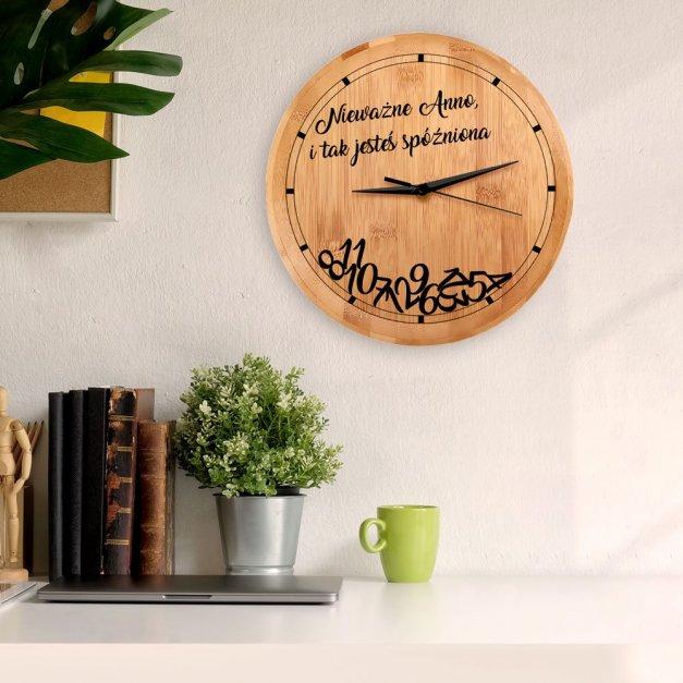 Zegar Ścienny Bambusowy Z Nadrukiem Spóźniona