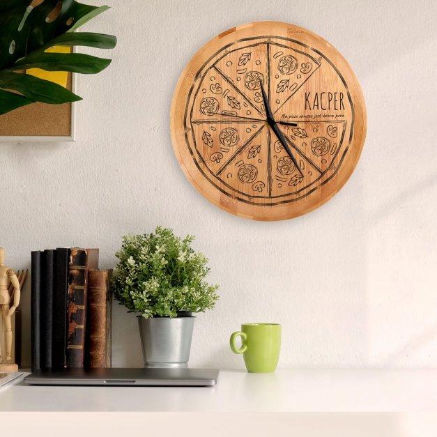 Zegar Ścienny Bambusowy Z Nadrukiem Pizza