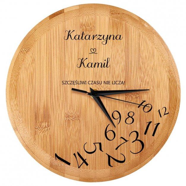 Zegar Ścienny Bambusowy Z Nadrukiem Dla Szczęśliwej Pary