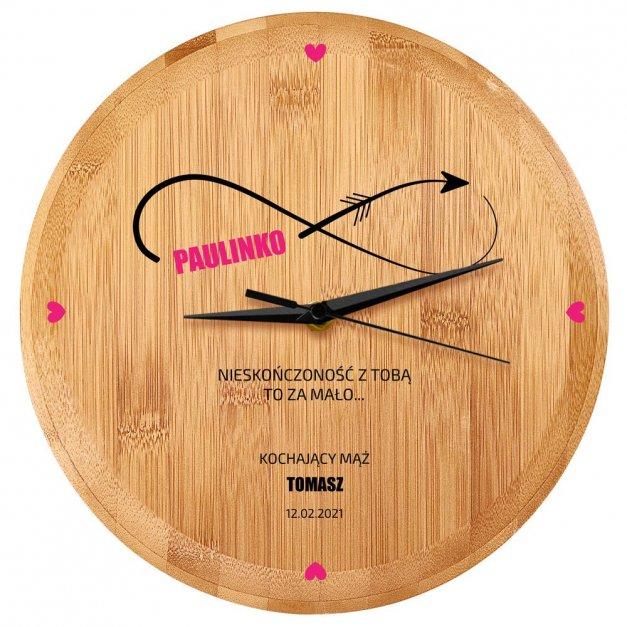 Zegar Ścienny Bambusowy Z Nadrukiem Nieskończoność