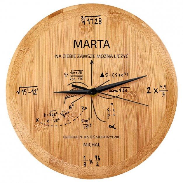 Zegar Ścienny Bambusowy Z Nadrukiem Matematyka