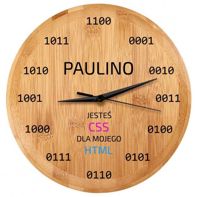 Zegar Ścienny Bambusowy Z Nadrukiem Prezent HTML