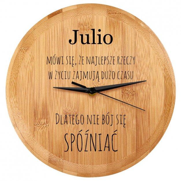 Zegar Ścienny Bambusowy Z Nadrukiem Nie Bój Się Spóźniać