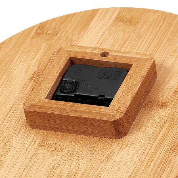 Zegar Ścienny Bambusowy Z Nadrukiem Sowa