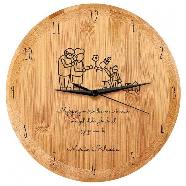 Zegar Ścienny Bambusowy Z Nadrukiem Dla Babci I Dziadka