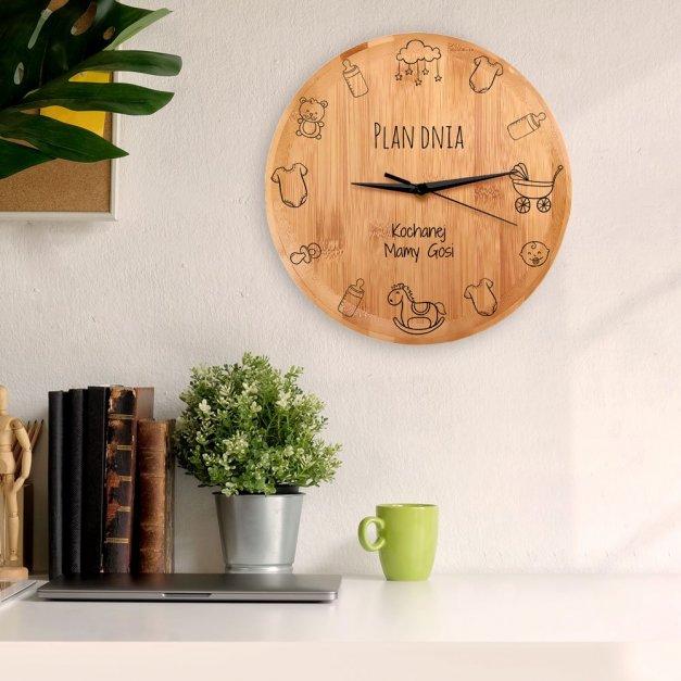 Zegar Ścienny Bambusowy Z Nadrukiem Plan Dnia Mamy