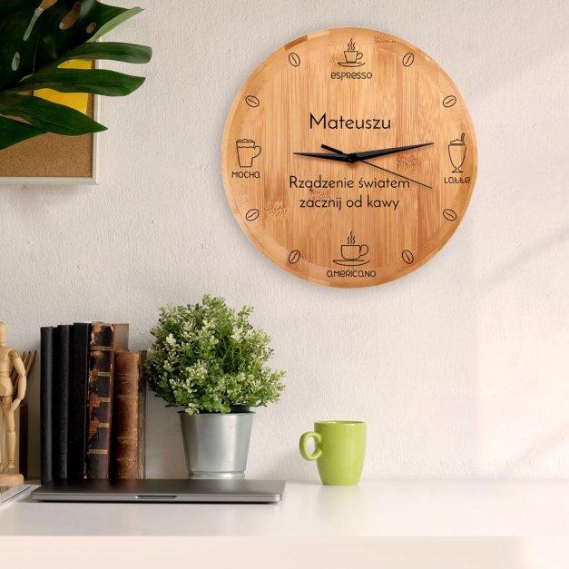 Zegar Ścienny Bambusowy Z Nadrukiem Czas na Kawę