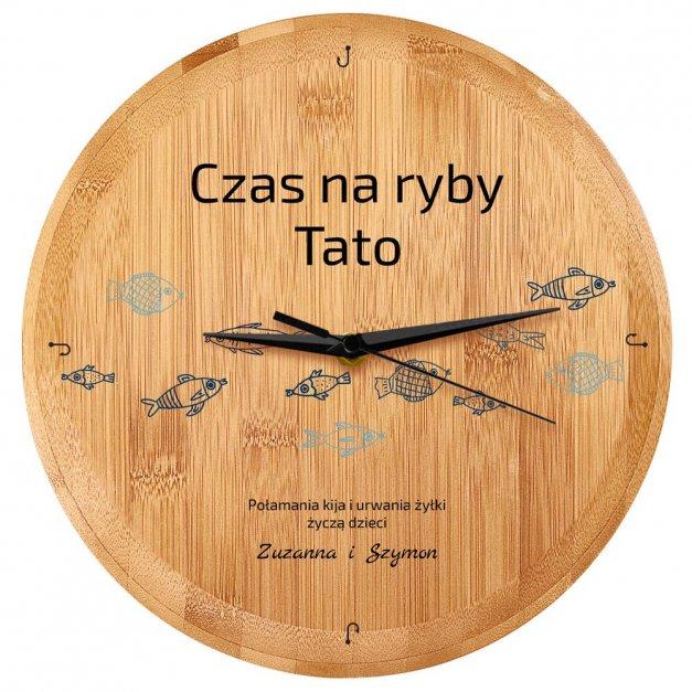 Zegar Ścienny Bambusowy Z Nadrukiem Czas na Ryby