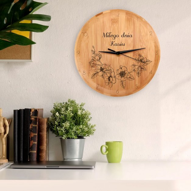 Zegar Ścienny Bambusowy Z Nadrukiem Kwiaty Dla Niej