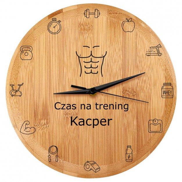 Zegar Ścienny Bambusowy Z Nadrukiem Czas na Trening