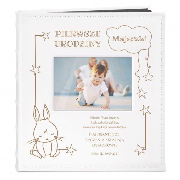 Album z Okienkiem Prezent dla Dziecka Grawer Króliczek