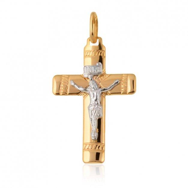 Złota Zawieszka 333 Krzyżyk Grande z Pasyjką Grawer