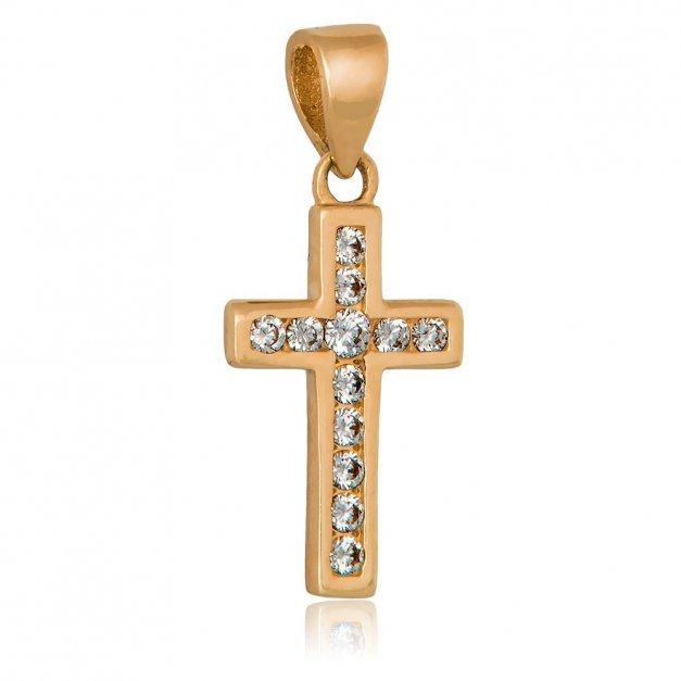 Złota Zawieszka 333 Krzyżyk z Kryształkami Grawer