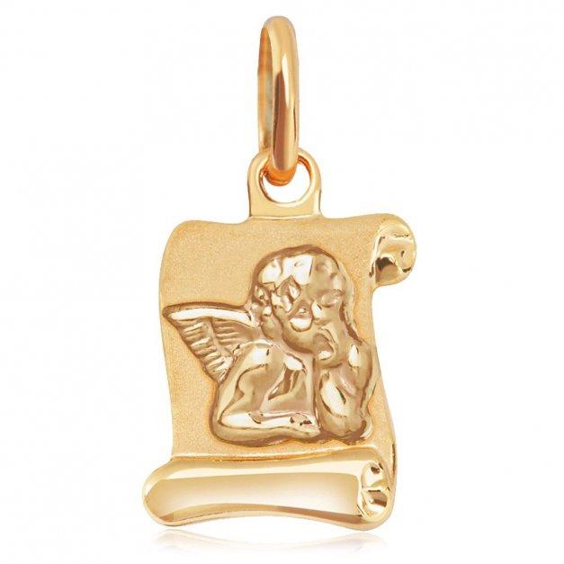 Złoty Medalik 585 Aniołek na Papirusie Grawer