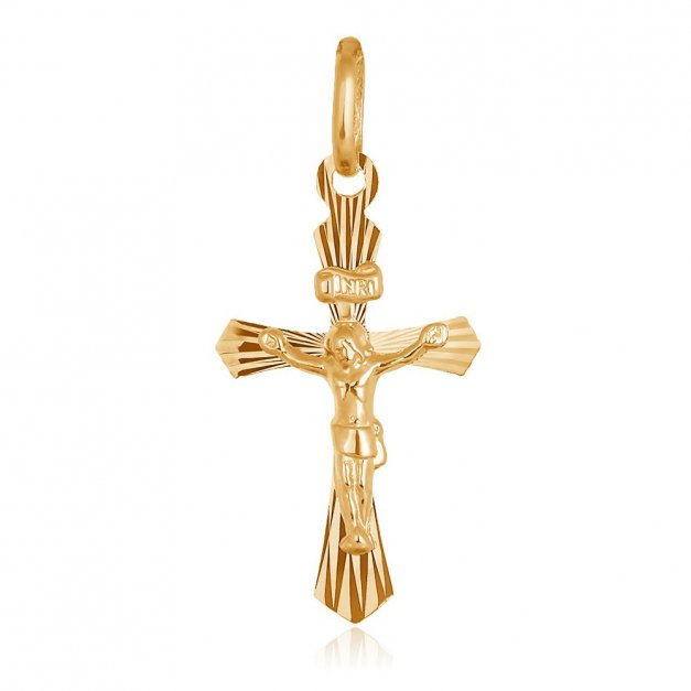 Złota Zawieszka 333 Krzyżyk La Luce z Pasyjką Grawer