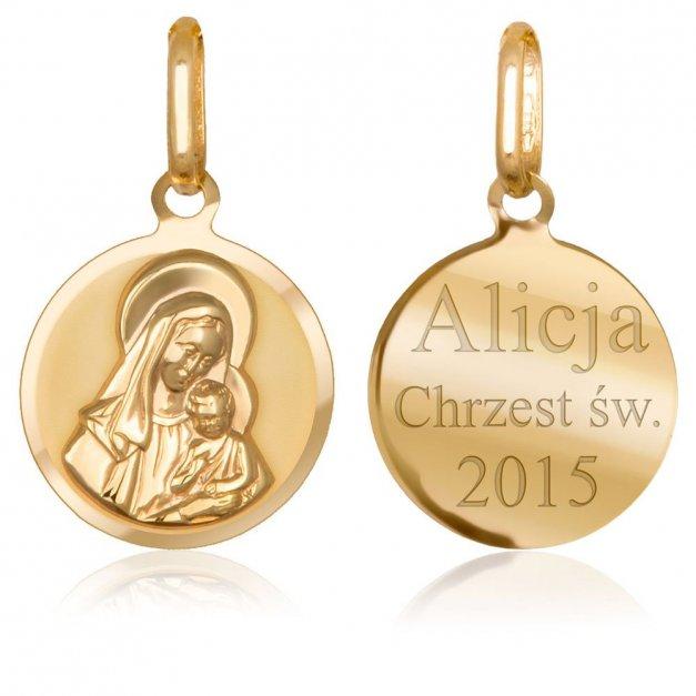 Złota Zawieszka 333 Medalik Matka Boska Grawer