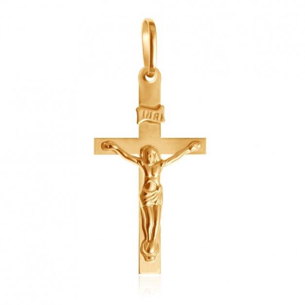 Złota Zawieszka 333 Krzyżyk Modesto z Pasyjką Grawer