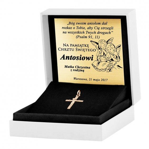 Złoty Krzyżyk 333 La Luce Prosty z Pasyjką Grawer