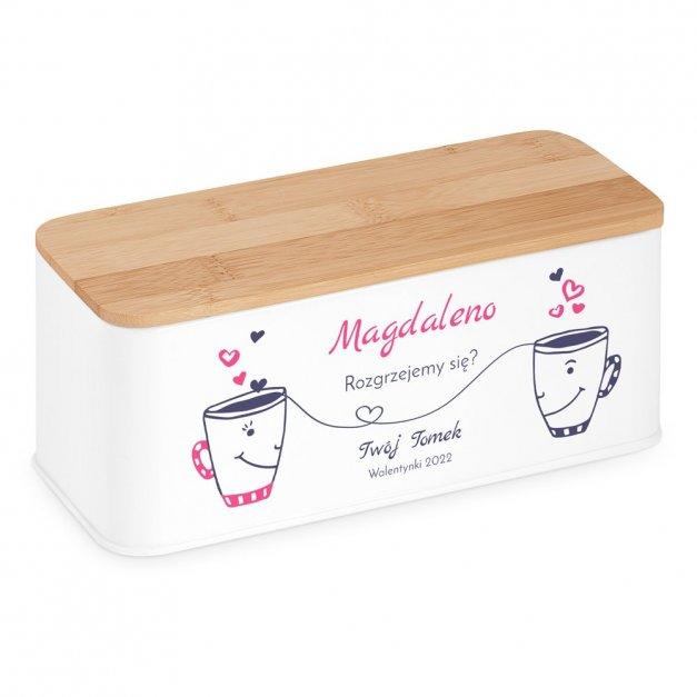 Zestaw Herbat w Metalowym Pudełku Nadruk Zakochane Kubeczki