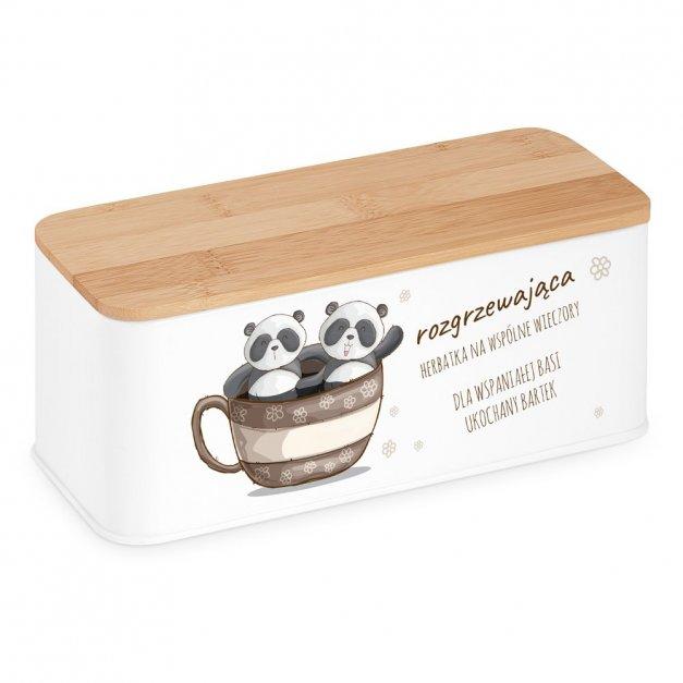 Zestaw Herbat w Metalowym Pudełku Nadruk Wesołe Pandy
