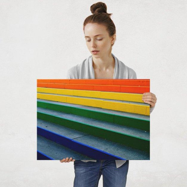 Plakat metalowy kolorowe schody L