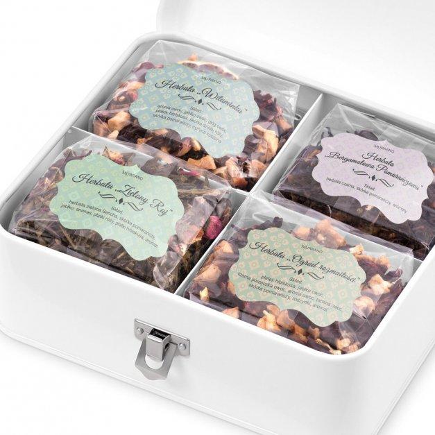 Duży Zestaw Herbat w Metalowym Pudełku Bukiet Dla Babci