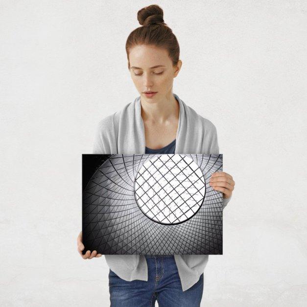 Plakat metalowy czarno białe M
