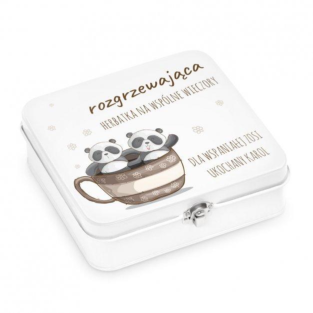 Duży Zestaw Herbat w Metalowym Pudełku Panda