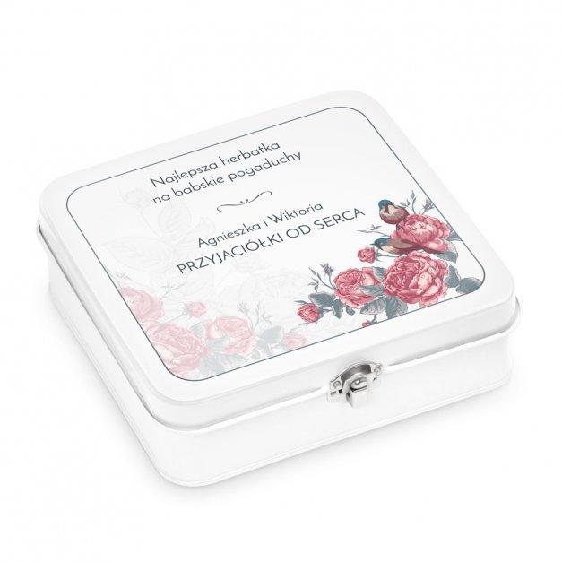 Duży Zestaw Herbat w Metalowym Pudełku Retro Róże