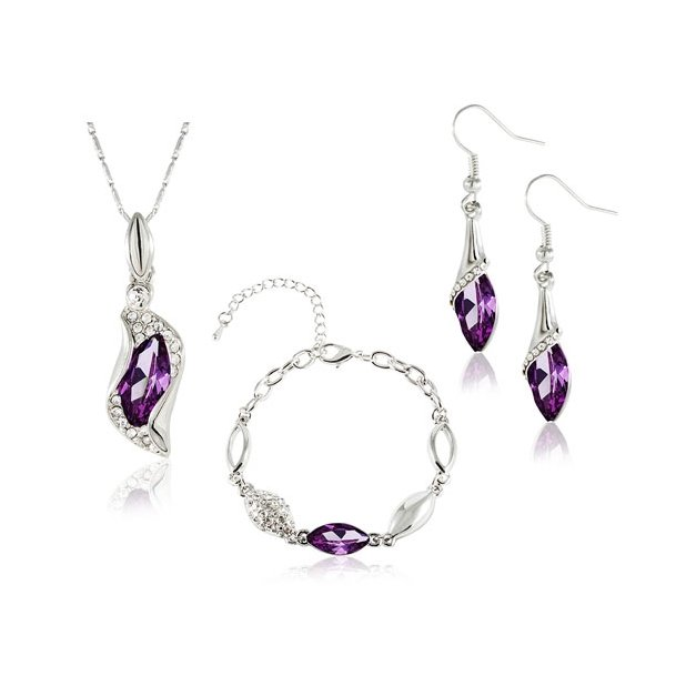 Komplet Swarovski Elements Sopelki Violet