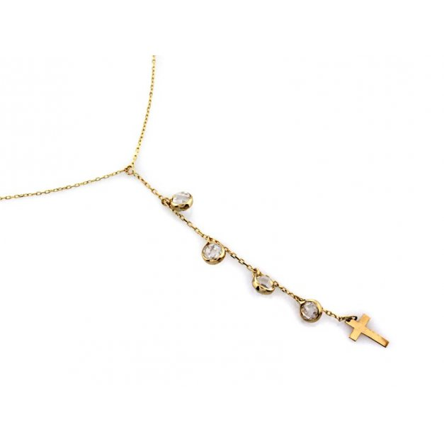 Złoty naszyjnik 585 z cyrkoniami krzyżyk PREZENT
